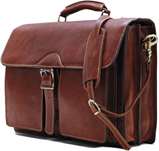 Floto Novella Roller Buckle Briefcase Messenger Bag in Full Grain Leather (Saddle Brown)