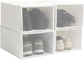 YueYue Foldable Fabric Shoe Storage Box,4 Pack Stackable Shoe Box Holder with Mesh Cloth Fabric Window White (13.3/8.85/5.9 Inch)