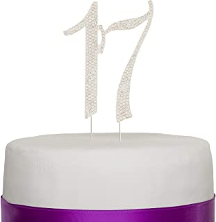 Ella Celebration 17 Cake Topper for 17th Birthday, Silver Rhinestone Number Decoration Party Supplies (Silver)