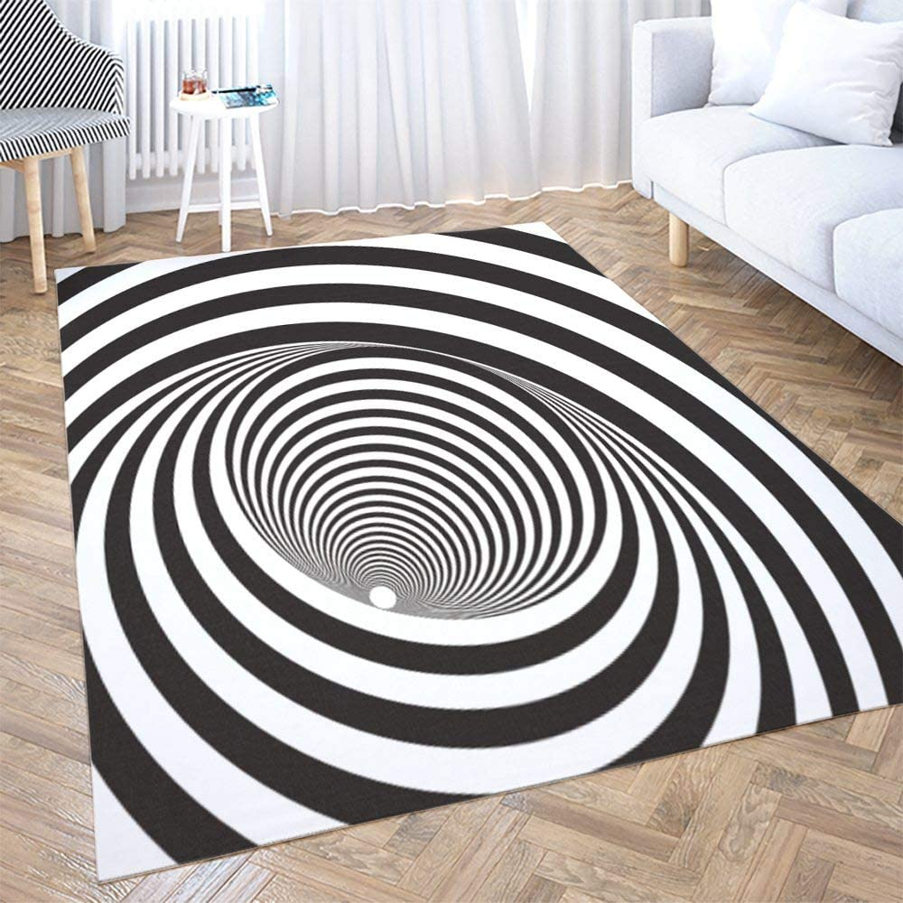 Amazon Com Big Area Rugs Shorping 5x7ft Area Rug Black White Relief Tunnel Optical Illusion Modern Home Carpet Floor Mats For Home Bedroom Carpets And Easy To Care Carpet Peach Pink Kitchen
