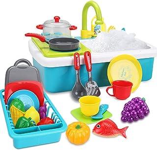 FS Kids Play - Juguete para fregadero de cocina, lavavajillas eléctrico con fregadero, agua corriente, estufa, utensilios y alimentos de juego, sistema automático de ciclo de agua, juguete para niños y niñas, edades 3 4 y 5