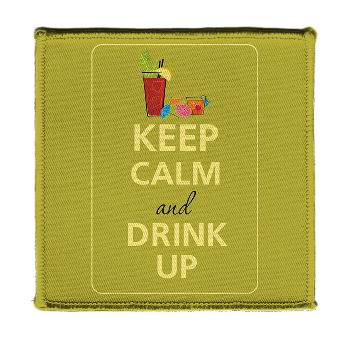 Keep Calm AND DRINK UP ALCOHOL BLOODY MARY - Iron on 4x4 inch Embroidered Edge Patch Applique