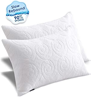 Agedate Adjustable Memory Foam Bed Pillows for Sleeping Queen Size Pillow with Double Zipper Cover Shredded Rebound Sponge Sleep Pillow Washable 2 Pack