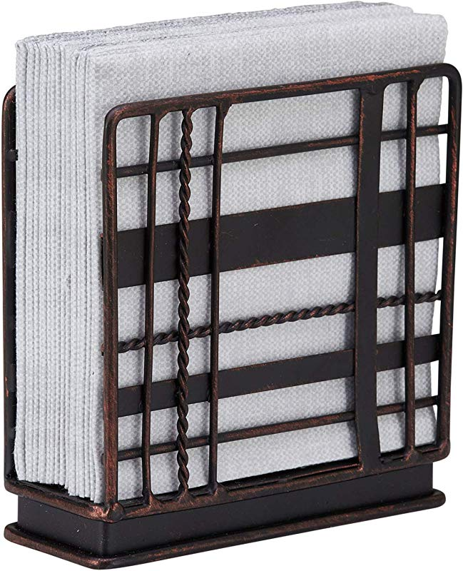 Home Intuition Plaid Collection Standing Napkin Holder Antique Black