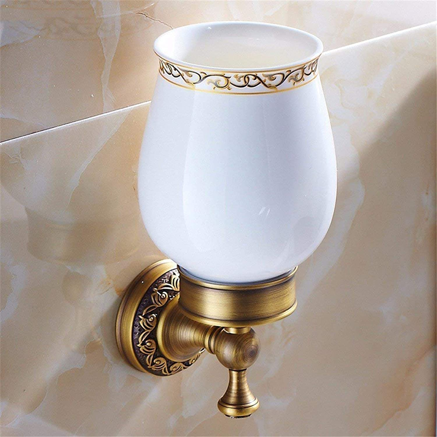 All Christmas Ancient Bronze Copper-Style Carved Accessories for Bathroom, Toilet, Toothbrush, a Single Rack Cabinet Cup