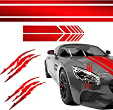 Car Stickers Decorations Car Hood Stripe Sticker Set Universal Auto Racing Body Side Stripes Vinyl Include 2 Decal Claw Ma...