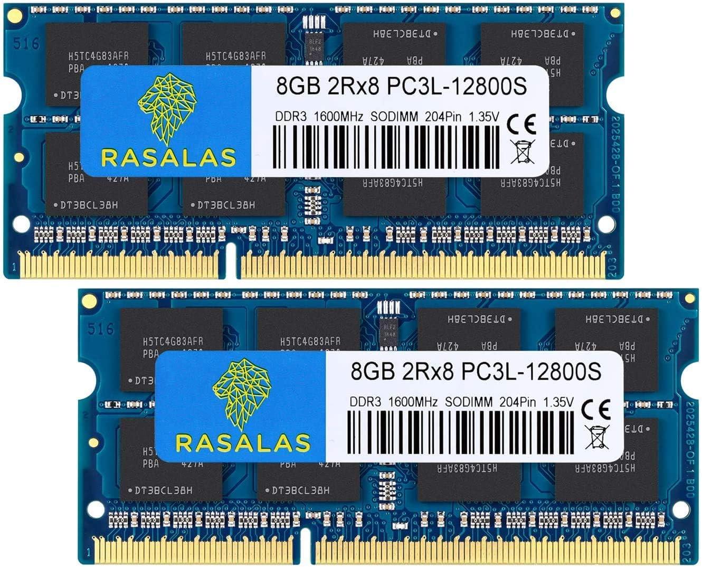 Rasalas DDR3 16GB Kit (2x8GB) DDR3 1600MHz PC3L-12800 16GB DDR3 Non ECC Unbuffered 1.35V CL11 2Rx8 Dual Rank SODIMM Laptop Memory Ram