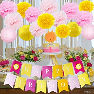 HappyField Sunshine First Birthday Decorations You Are My Sunshine Birthday Party Decorations Lemonade Birthday Party Yellow Pink Tissue Pom Poms Paper Lantern Happy Birthday Banner for Sunshine Party