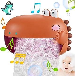 Bubble Bath Toy, Cute Kids Dinosaur Bathtub Blows Bubble Machine, Bubble Blower Makes 1000+ Bubbles Per Minute with 5 Musi...
