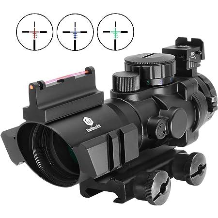 Beileshi Rifle Scope 4x32 Red & Green & Blue Triple Illuminated Rapid Range Reticle Scope with Top Fiber Optic Sight and Weaver Slots