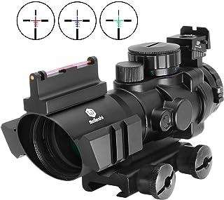 Beileshi Rifle Scope 4x32 Red/Green/Blue Triple Illuminated Rapid Range Reticle Scope with Top Fiber Optic Sight and Weaver Slots