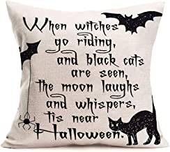 Asminifor Halloween Theme Pillow Covers Cotton Linen Halloween Quote Saying Pillow Cover Square Burlap Decorative Throw Pillowslip 18x18 Cushion Cover with Black Cat Spider Web Bat Witch (Cat Bat)