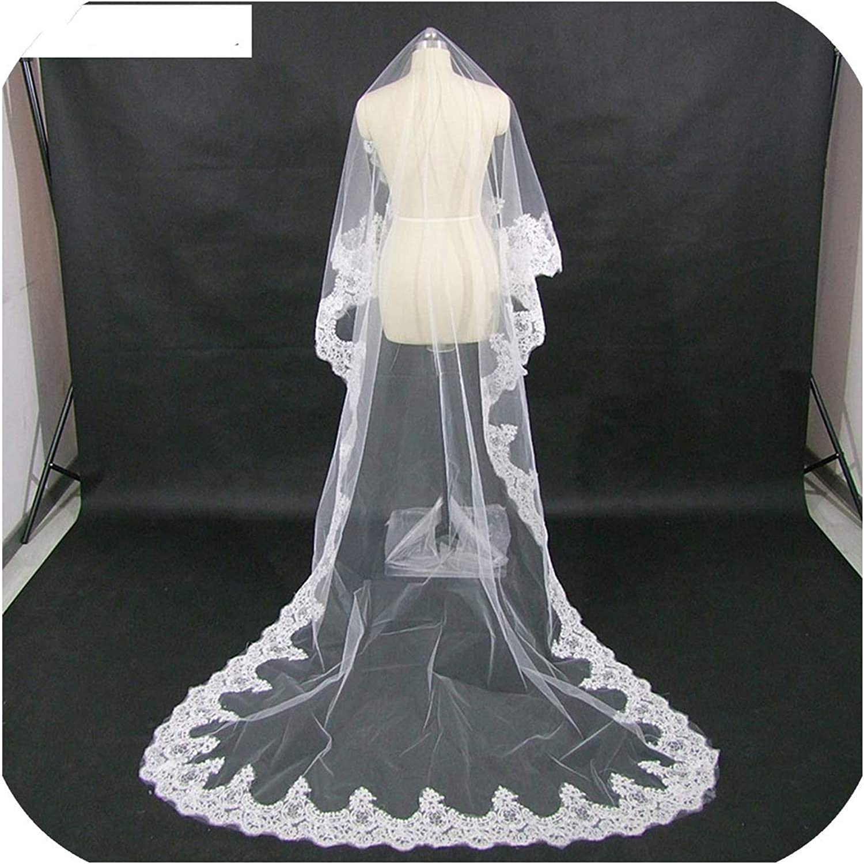 Bride Ultra Long Veil Vintage Lace Elegant Veil,White