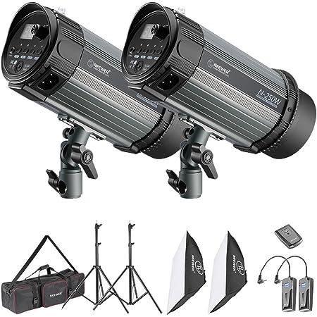 Neewer Flash Estroboscópico Kit de Luz Estudio Fotográfico y Iluminación Softbox: Flash Monolight 250W, Soportes de Luz, Softbox, Disparador Inalámbrico RT-16, Bolsa de Transporte