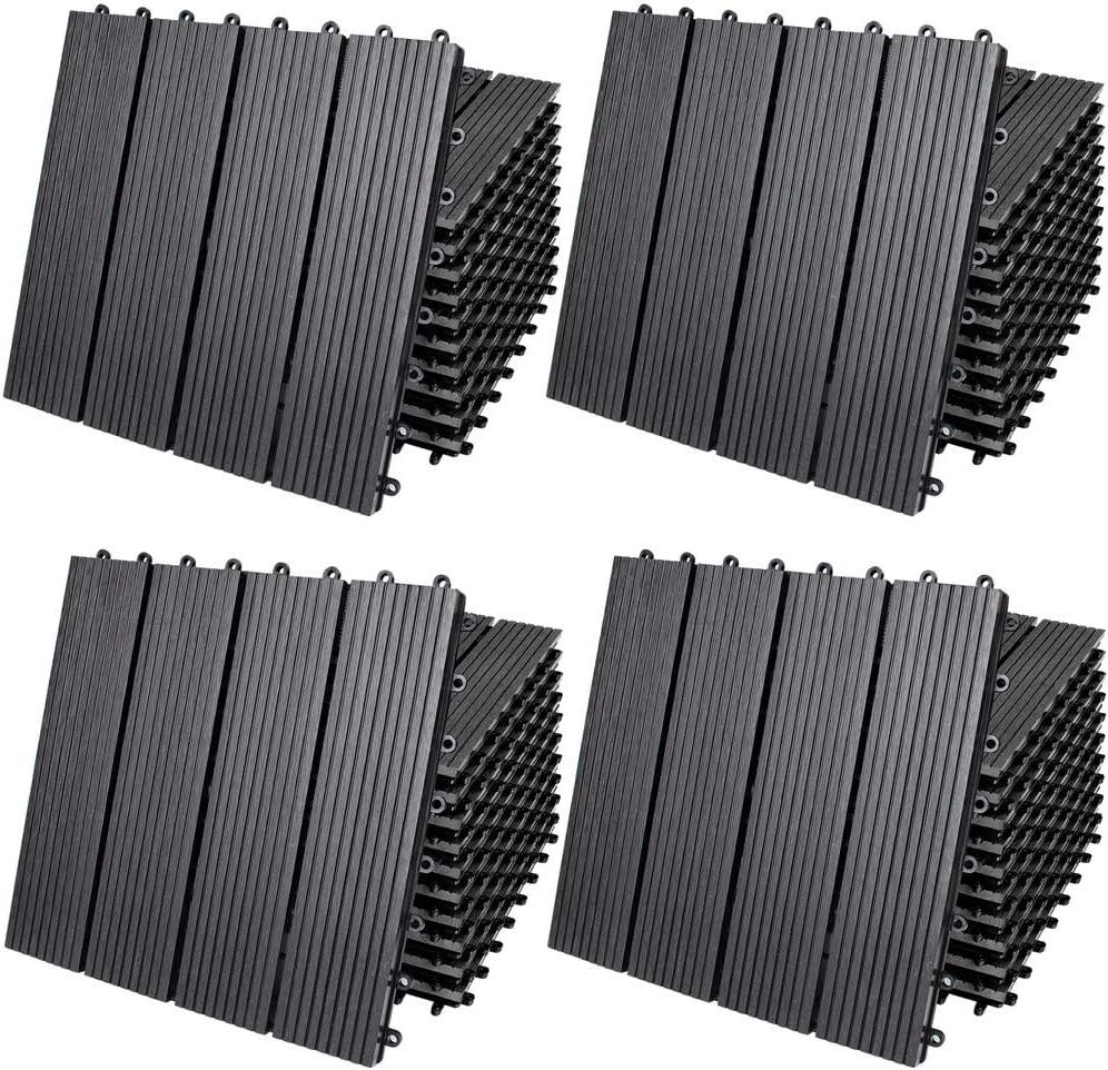 Deuba Set de 44 Baldosas de WPC Clásicas Antracita 30x30m 4m² Montaje por Clips y Sistema de Drenaje