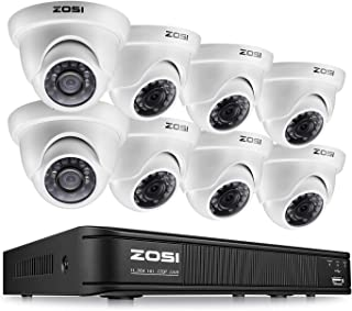 ZOSI 720p Dome Camera System for Home,1080N Security DVR 8 Channel and (8) 720p CCTV Dome Camera Outdoor/Indoor with Day/Night Vision,Easy Remote Access(No Hard Drive)