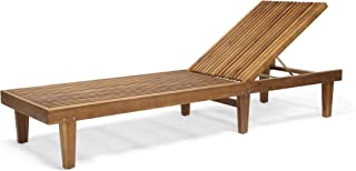 Christopher Knight Home 309072 Addisyn Outdoor Wooden Chaise Lounge, Teak Finish