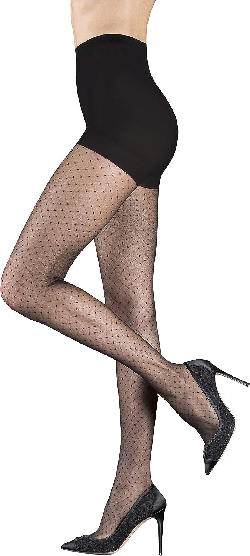 Badgley Mischka Luxury Sheer Fashion Pantyhose with Classic Swiss Dot Pattern & Control Top, Black