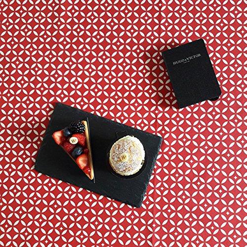 Fleur de Soleil - Nappe enduite ronde ou ovale Mosaïque rouge Dimension - Ovale 160x200cm, Finition - Ourlée, Matière - Coton enduit