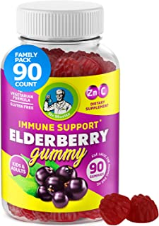 Elderberry Gummies for Kids and Adults (90 Count) - Natural Immune System Booster and Health Support with Black Sambucus E...