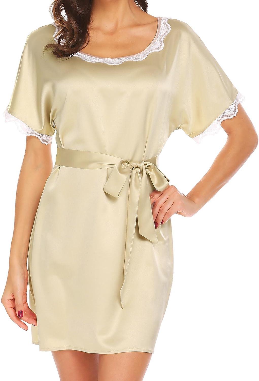 Adidome Women's Lace V Neck Nightwear Trim Satin Sleep Dress Sleepwear Dress SXXXL