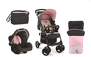 Hauck Shopper SLX Buggy Stroller Pram With Sleeping Bag And Mamma Bag Set - Black/Pink