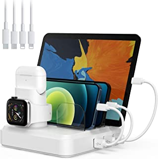 $24 » Charging Station for Multiple Devices, 5-Port Charger Organizer Dock with 4 Mixed Cables, USB Charging Station Compatible with iWatch, AirPods, Smart Phone(No Watch Charger)