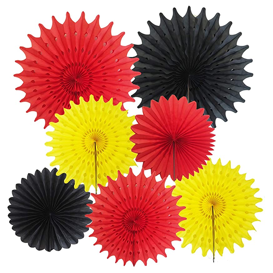 Mickey Mouse Party Supplies Mickey Birthday Decorations 7pcs Yellow Red Black Tissue Paper Fans for Mickey Mouse 1st Birthday Decorations/Mickey Mouse Party Decorations