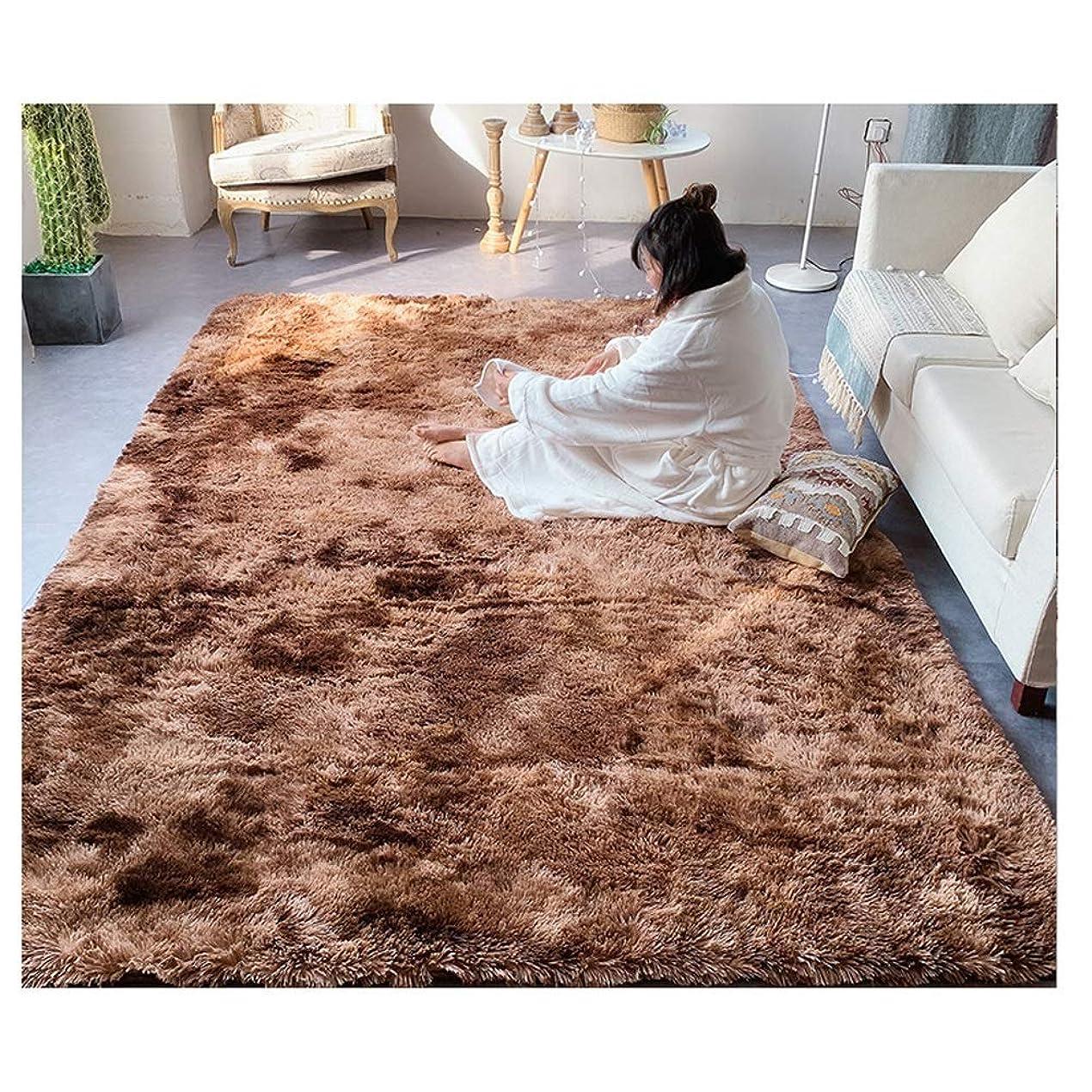 遵守するジョイント放つカーペットリビングルーム用ラグエリアラグ、シャギーソフトカーペット、リビングルーム用アンチスキッドラグ寝室グレー (Color : Brown, Size : 6.5*7.8ft)