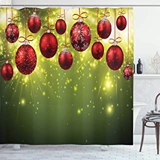 Ambesonne Christmas Shower Curtain, Vibrant Colored New Year Design with Psychedelic Digital Effects and Baubles Print, Cloth Fabric Bathroom Decor Set with Hooks, 70