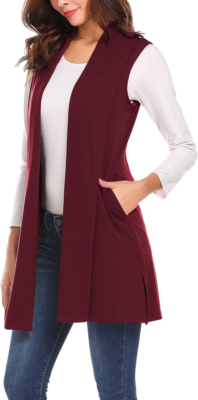 MAXMODA Ärmellose Strickjacke Damen Lang Westen Damen Mantel Jacke mit Seitentasche für Sommer und Herbst A-wein Rot
