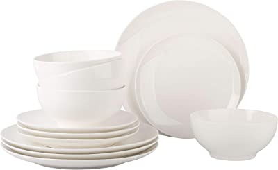 Gift Essentials Dinnerware Set – 12 pcs Dish Set for 4 –Durable Porcelain Dinnerware Set, Plates and Bowls – Microwave, Oven and Dishwasher Safe– Chip-resistant Plates – Plain White