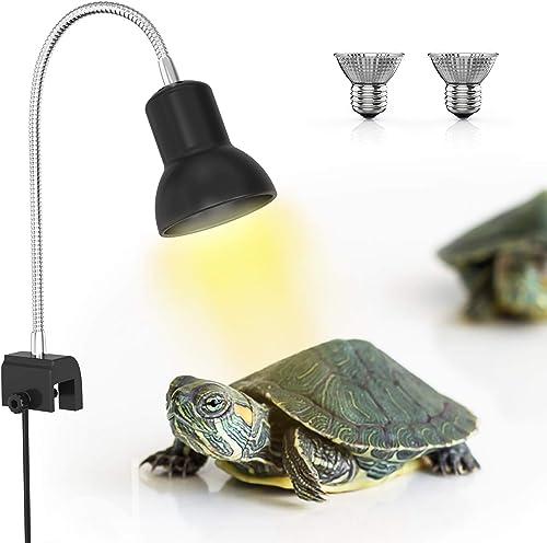 DADYPET Lámpara para Tortuga, UVA de 25W, Dos Basking Iluminación de Calor, Pinza giratoria de 360 Grados y Fuente de...