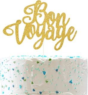 Bon Voyage Cake Topper for Farewell Party Going Away Happy Retirement Party Decorations (Double Sided Gold Glitter)