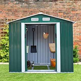 4.2' x 7' Backyard Garden Metal Warehouse Outdoor Storage Shed Rural Style for Utility Tool&Patio Furniture Storage,Gable ...
