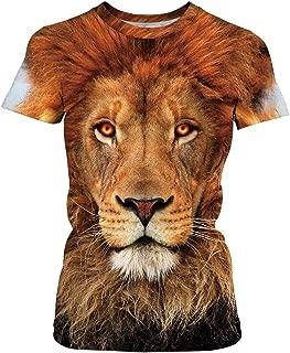 Velynce Unisex Thin Shirts Stylish 3D Digital Printed Lion Skull Casual Personality T-Shirts Couple Clothing