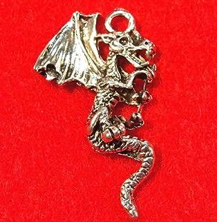 50Pcs. Wholesale Tibetan Silver Dragon Detailed Charms Pendants Ear Drops Q0853 Crafting Key Chain Bracelet Necklace Jewelry Accessories Pendants