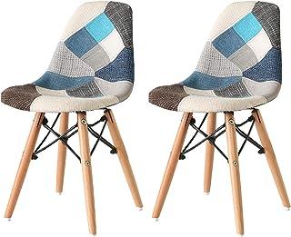 Nicemoods Juego de 2 sillas de Retazos Juego de Comedor Retro Sillas Muebles de Oficina para el hogar Sala de Estar Muebles para el hogar Sillas de Tela de Colores (Patchwork Blue)