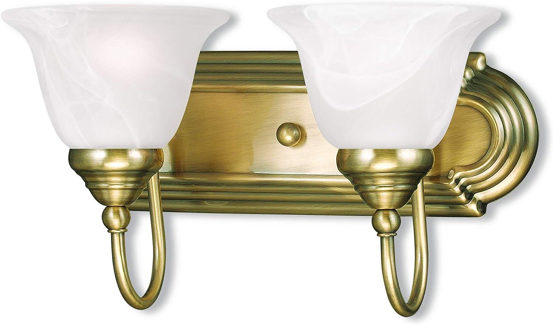 Livex Fresno Mall Lighting 1002-01 Belmont 2-Light Bath Antique Popular overseas Light Brass