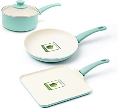 GreenLife Soft Grip Absolutely Toxin-Free Healthy Ceramic Nonstick Dishwasher/Oven Safe Stay Cool Handle Cookware Set, 4-Piec