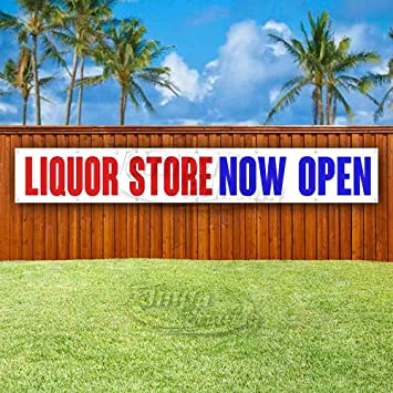 Liquor Store Now Open Extra Large 13 Oz Heavy Duty Vinyl Banner Sign with Metal Grommets Flag