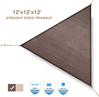 HENG FENG Straight Edge Sun Shade Sail 12`x12`x12` Brown Triangle Outdoor Shade Canopy UV Block for Pergola Porch Patio