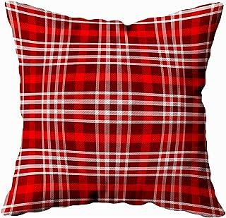 2PC 18X18,Fundas De Almohada,Fundas De Almohada Tela De Tartán Colorida Escocesa Tradicional Tela De Rayas Blancas Negras Rojas Funda De Almohada Suave
