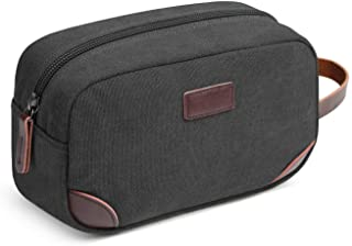 Men's Travel Toiletry Organizer Bag Canvas Shaving Dopp Kit TSA Approved (Black)