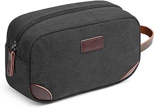Men's Travel Toiletry Organizer Bag Canvas Shaving Dopp Kit TSA Approved (Black)
