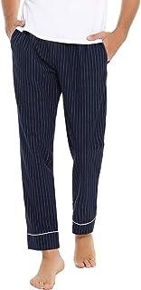 Pantalón de Pijamas Largo para Hombre de Algodón Pantalones de Casa Dormir de Rayas con Cintura Elástica