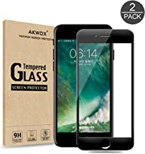 (Pack of 2) Screen Protector for iPhone 7 Plus 8 Plus, Akwox Full Cover iPhone 7 Plus 8 Plus Tempered Glass Screen Protector with ABS Curved Edge Frame, Anti-Fingerprint (Black)