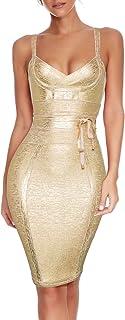 meilun Vestido de fiesta de rayón con detalle de cinturón para mujer