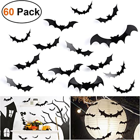 Anditoy 60 PCS Halloween 3D Bats Wall Decal Window Clings for Halloween Decorations Outdoor Indoor Halloween Party Supplies