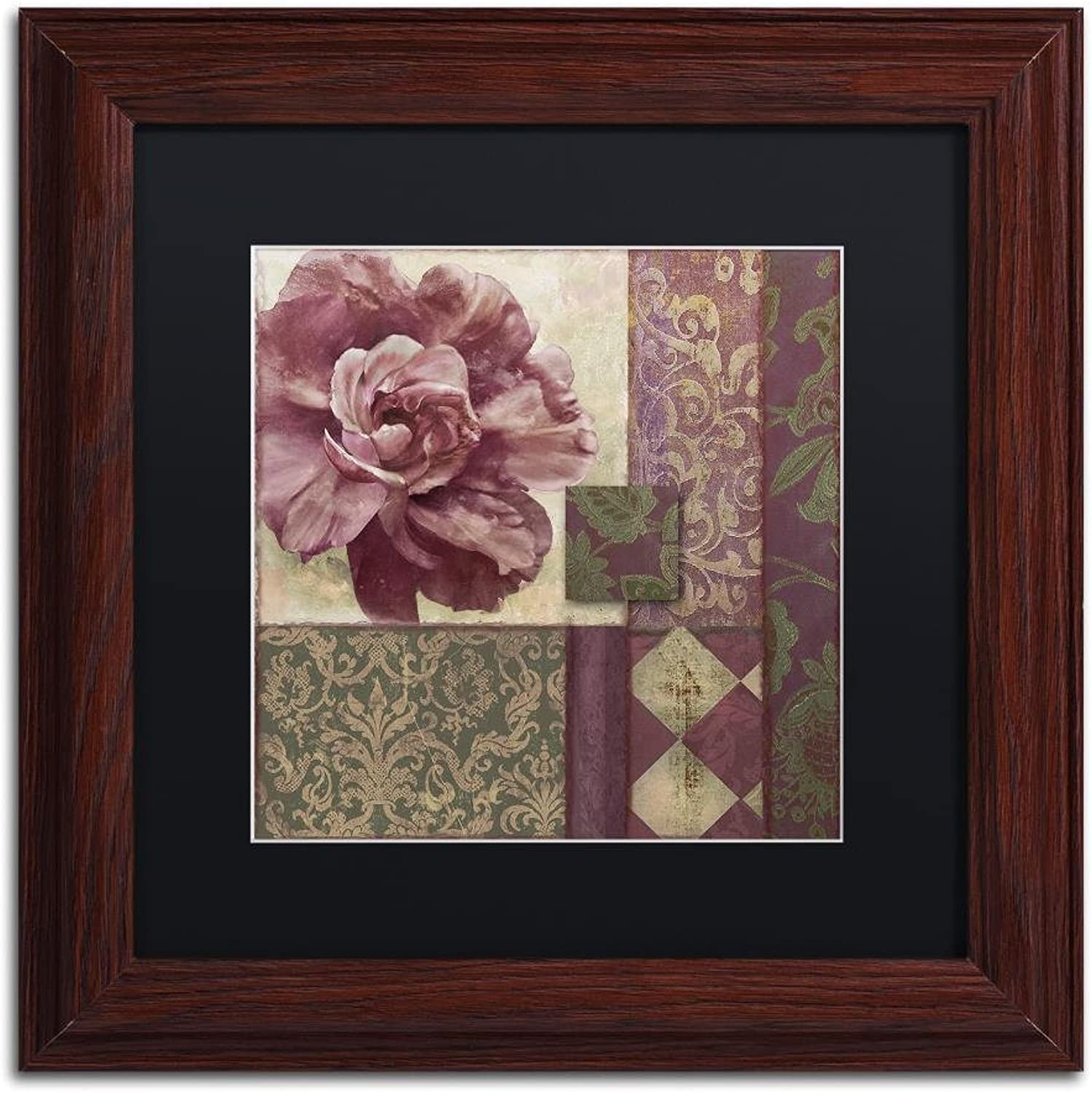Trademark Fine Art Patch Work Brocade I by color Bakery, Black Matte, Wood Frame 11x11, Wall Art